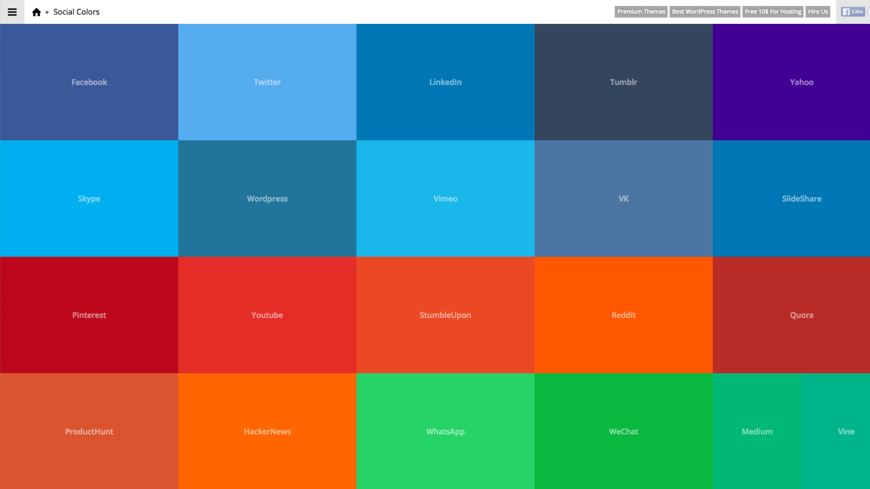 Social Colours: Hex Codes for Popular Online Brands — Stevie Driscoll