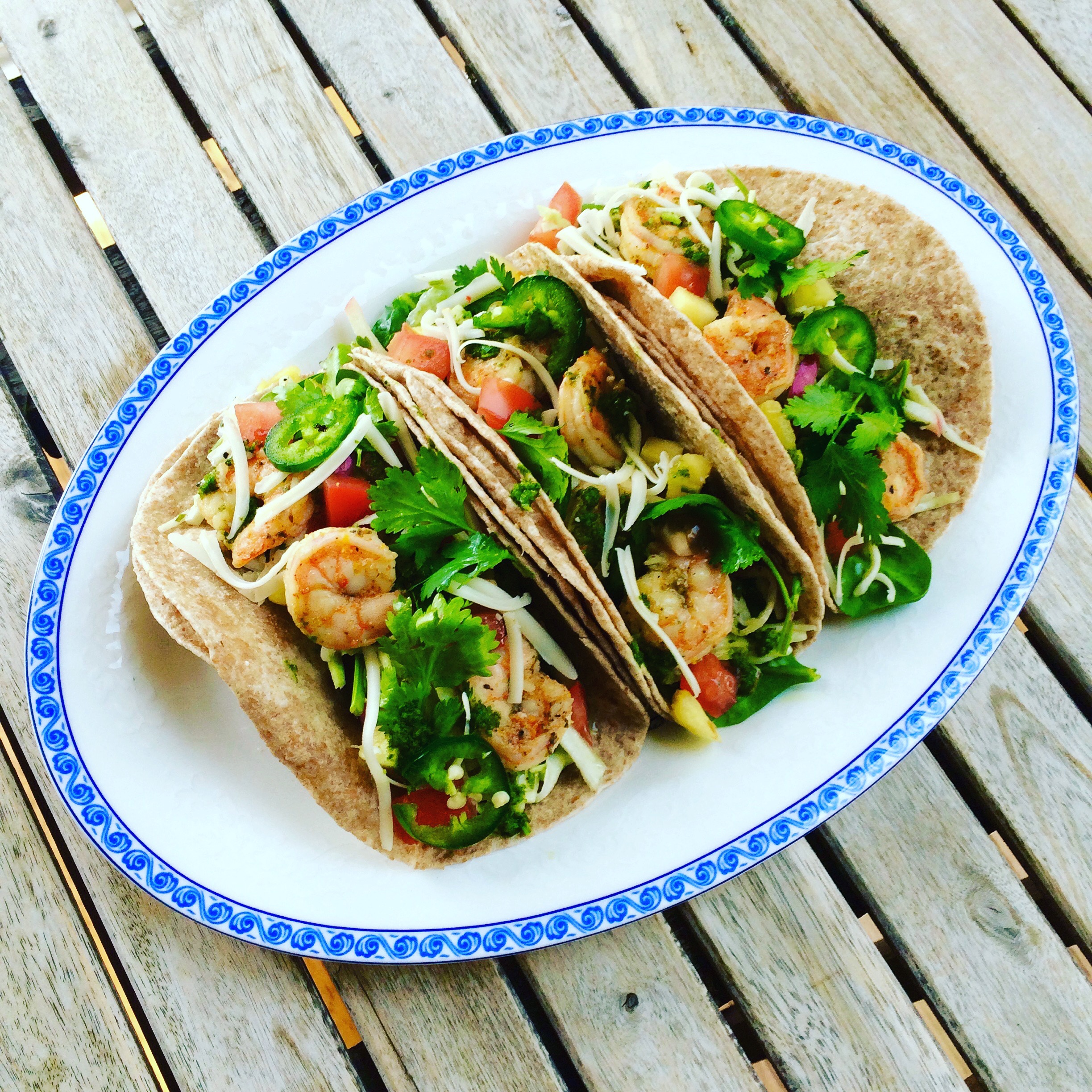 Tequila Shrimp Tacos with Apple Slaw & Cilantro Sauce