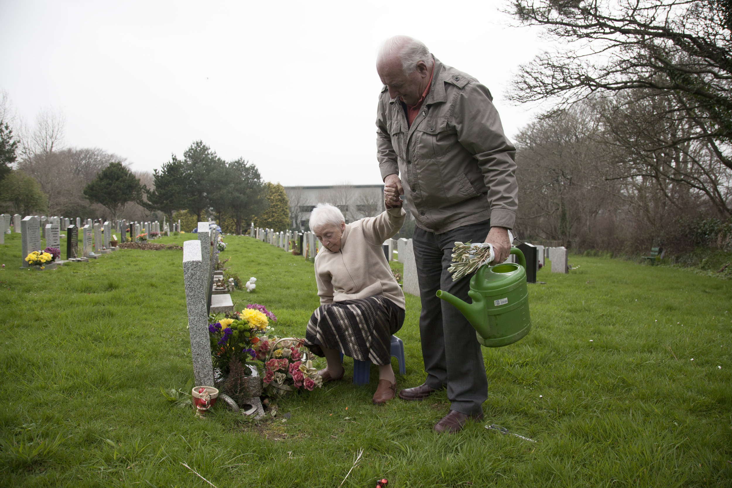 Graham and Lilyan visiting their daughter, Sarahs, grave. When Graham and lilyan were younger they lost their daughter at a young age. Their other daughter lives in Kent with her husband and children.