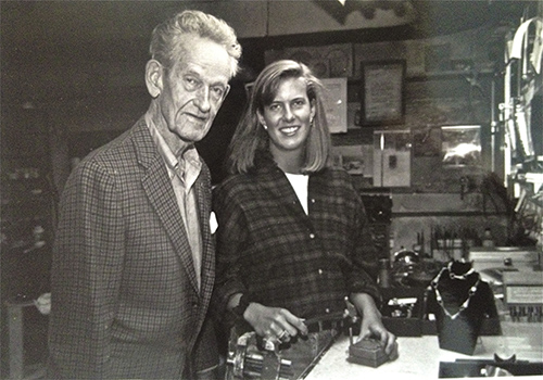 Wendy Krag O'Neil her grandfather Frederick Colby in his Detroit studio 1992