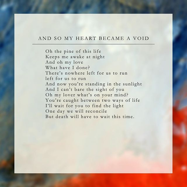 Lyrics sheet for 'And So My Heart Became A Void' by @annacamusic and I, taken from our Solace EP which you can listen to now! Link in the bio!  FUN FACT: This was actually the first song we ever worked together on, before Wicked Game and all the other work together! The instrumental was also used on a trailer for Allied (2016) starring Brad Pitt and Marion Cotillard.