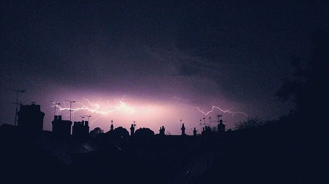 Last Night. ⛈ . . . #lightning #thunder #skyline #storm #night #dark