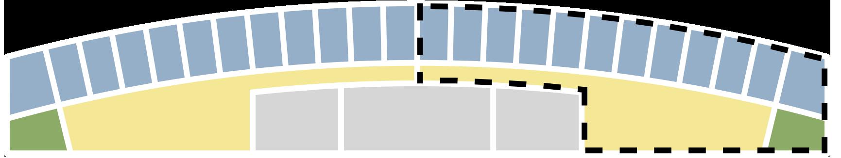Hver etage består af 24 eller 26 værelser (blåt) fordelt i to ganggrupper (gult), der består af køkken, stue, og en terrasse.