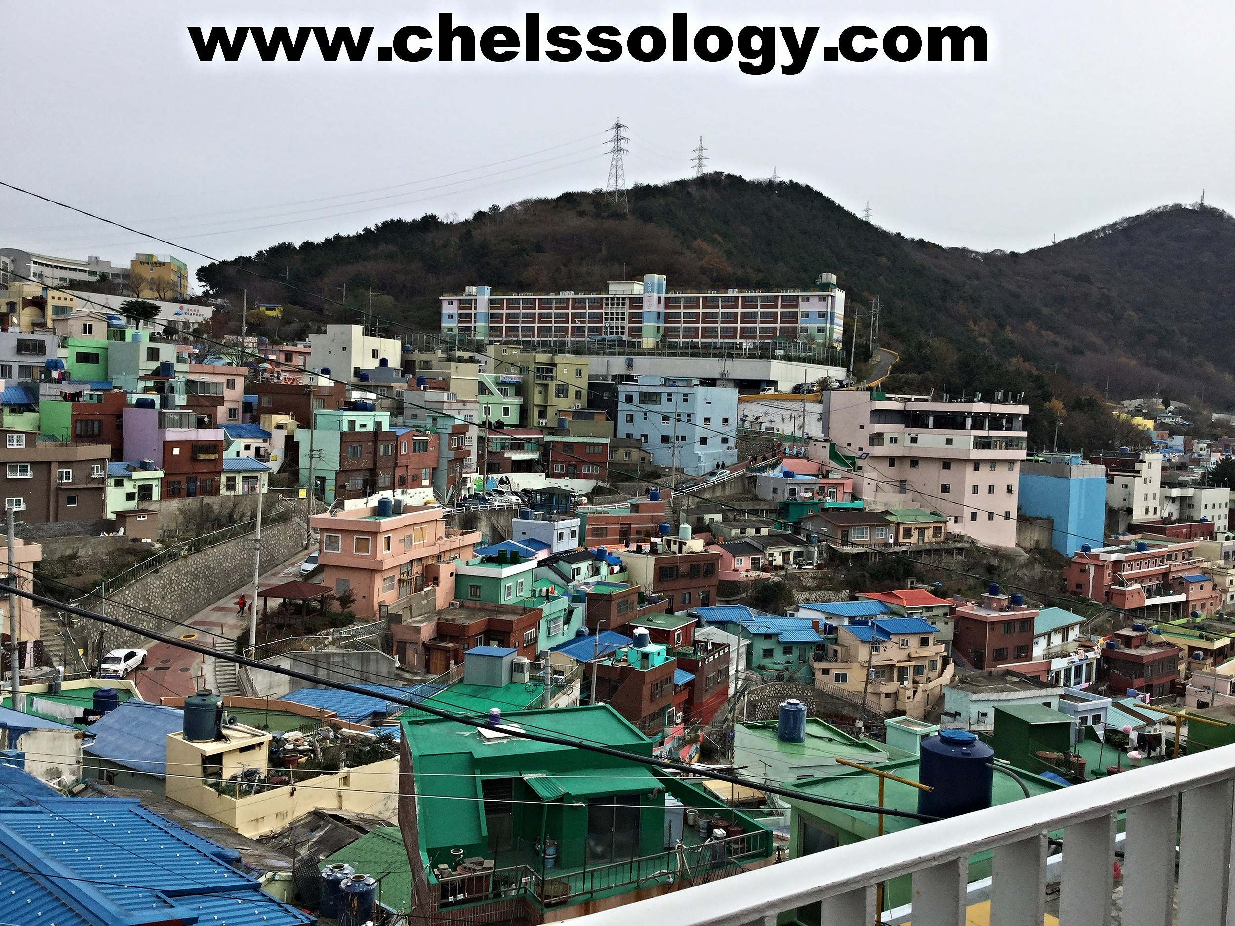 Enjoying breathtaking views at Gamcheon Village.