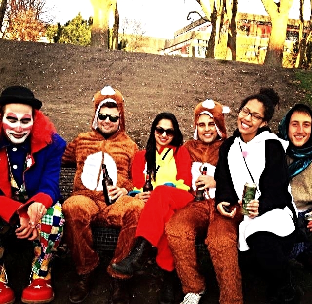 """We met 3 """"strangers"""" while lost in Germany. We had a few laughs over beer in the park and made memories through the lens. And yes, we are wearing animal onesies. And no,I do not regret it. // COLOGNE, GERMANY."""