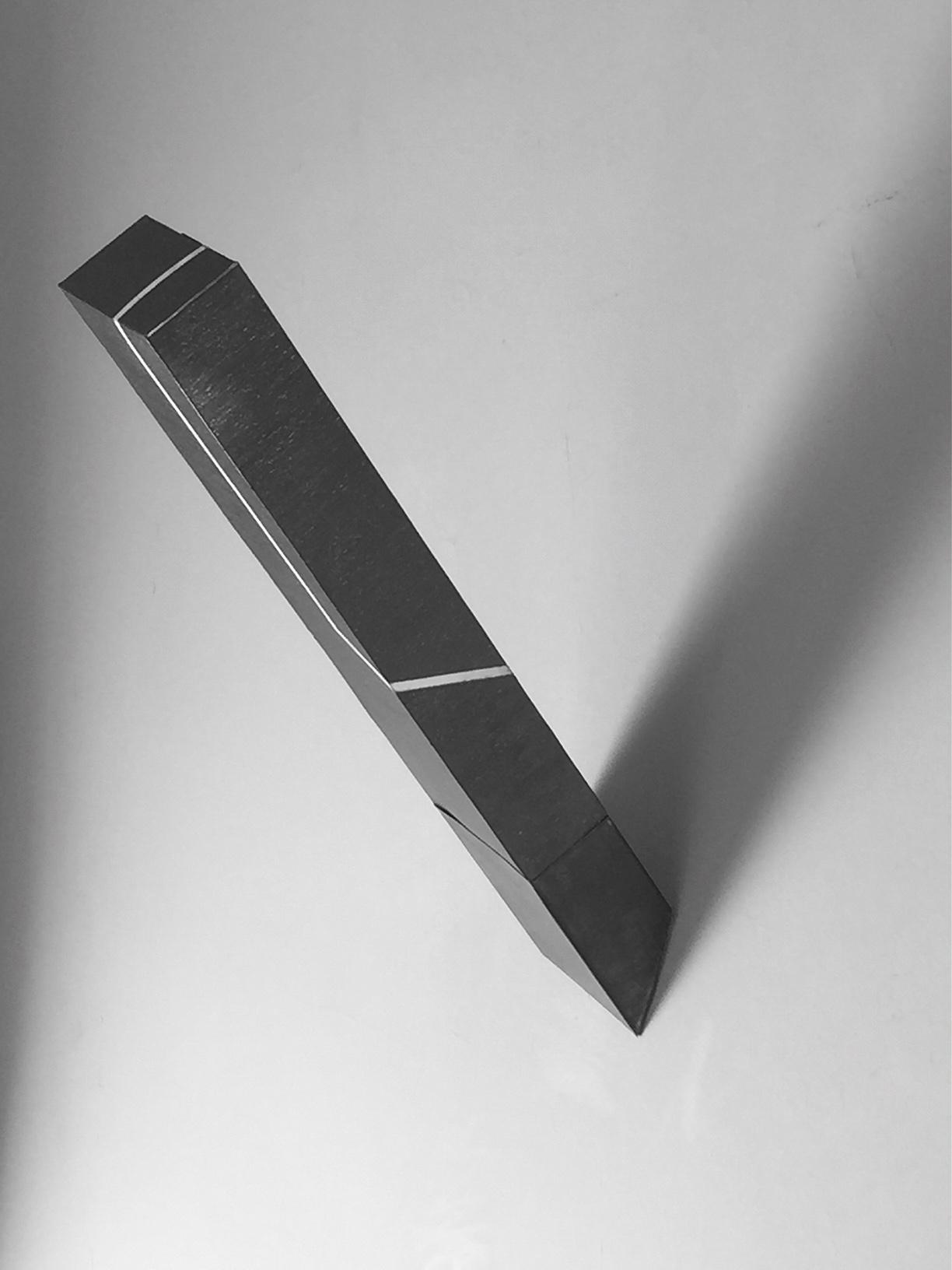 REALIDAD CONTINGENTE II  Superficie de papel algodón 420g y hierro, cubiertos de grafito.  40 x 10 x 30 cm.  2015.    Estudio sobre concepción ética de la belleza.    No sólo pertenece a un cuerpo.