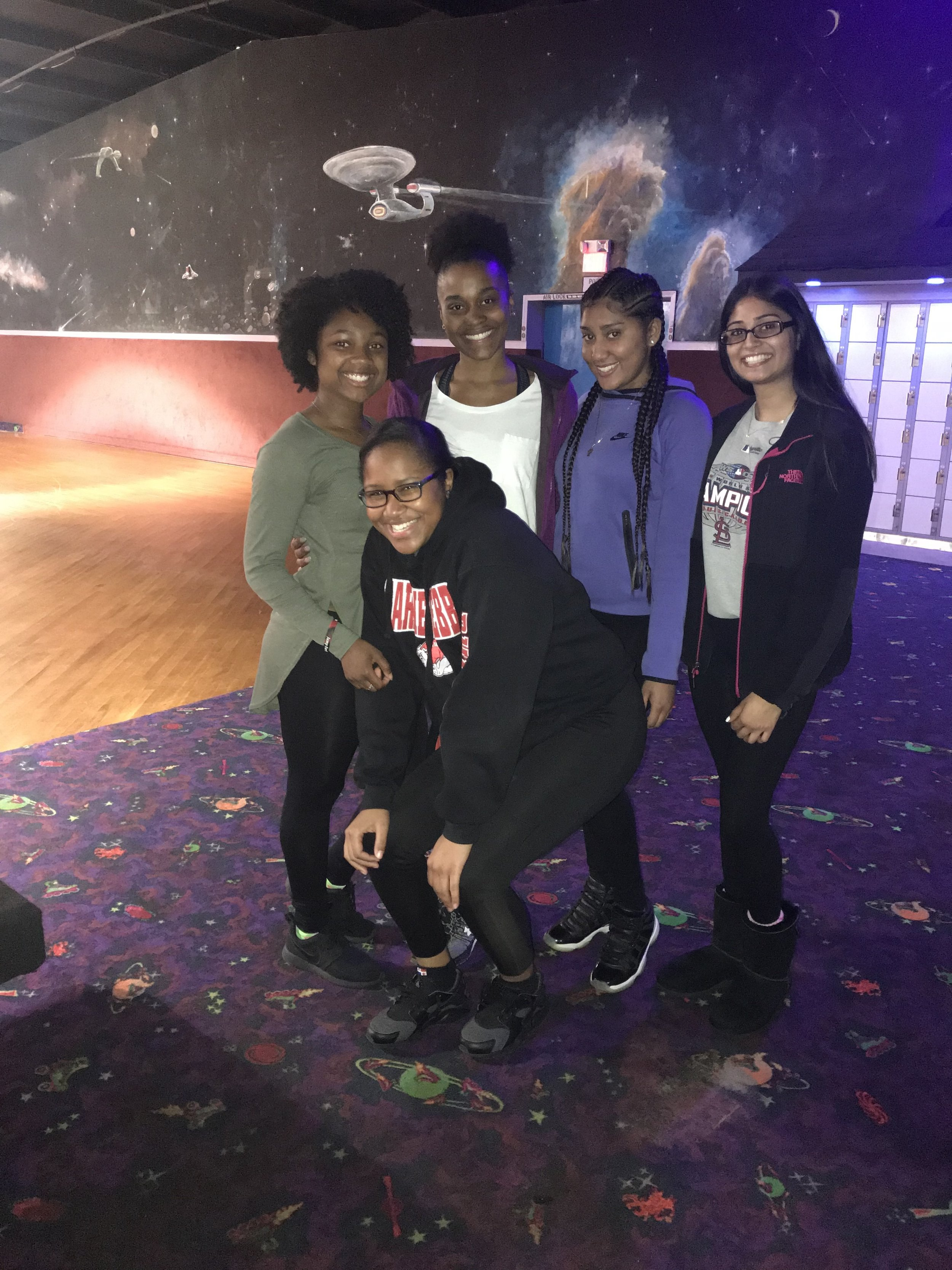 Mia, second from left, and friends at Skate Night.