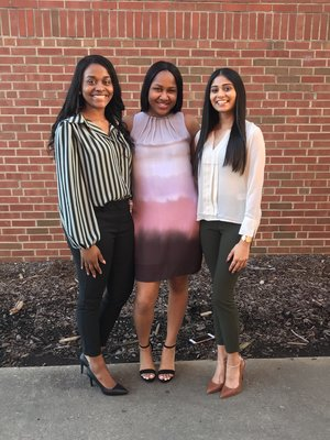 Mia, left, and two friends before their induction ceremony for the Tri-Beta Biology Honors Society.