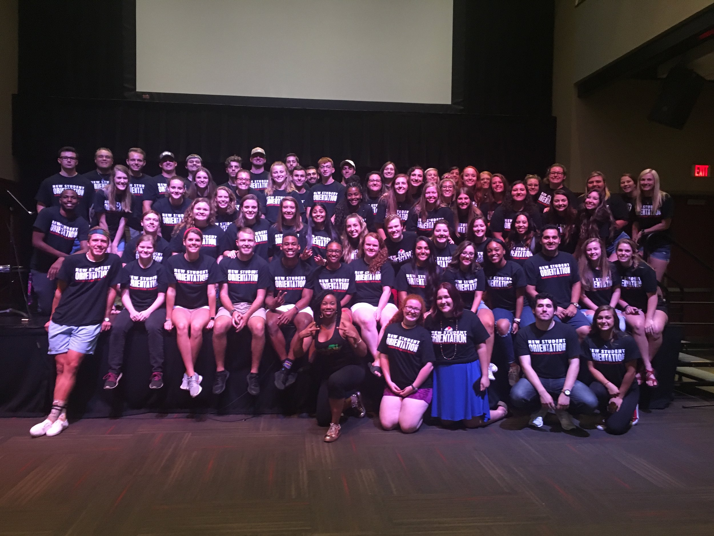 The group of big brothers, big sisters, and peer leaders during Freshman Orientation 2018.