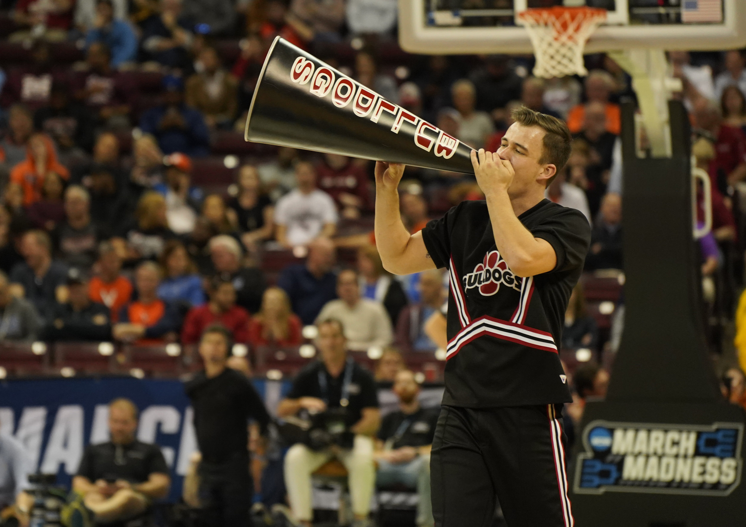 Daniel cheering during the Gardner-Webb vs. UVA March Madness game.