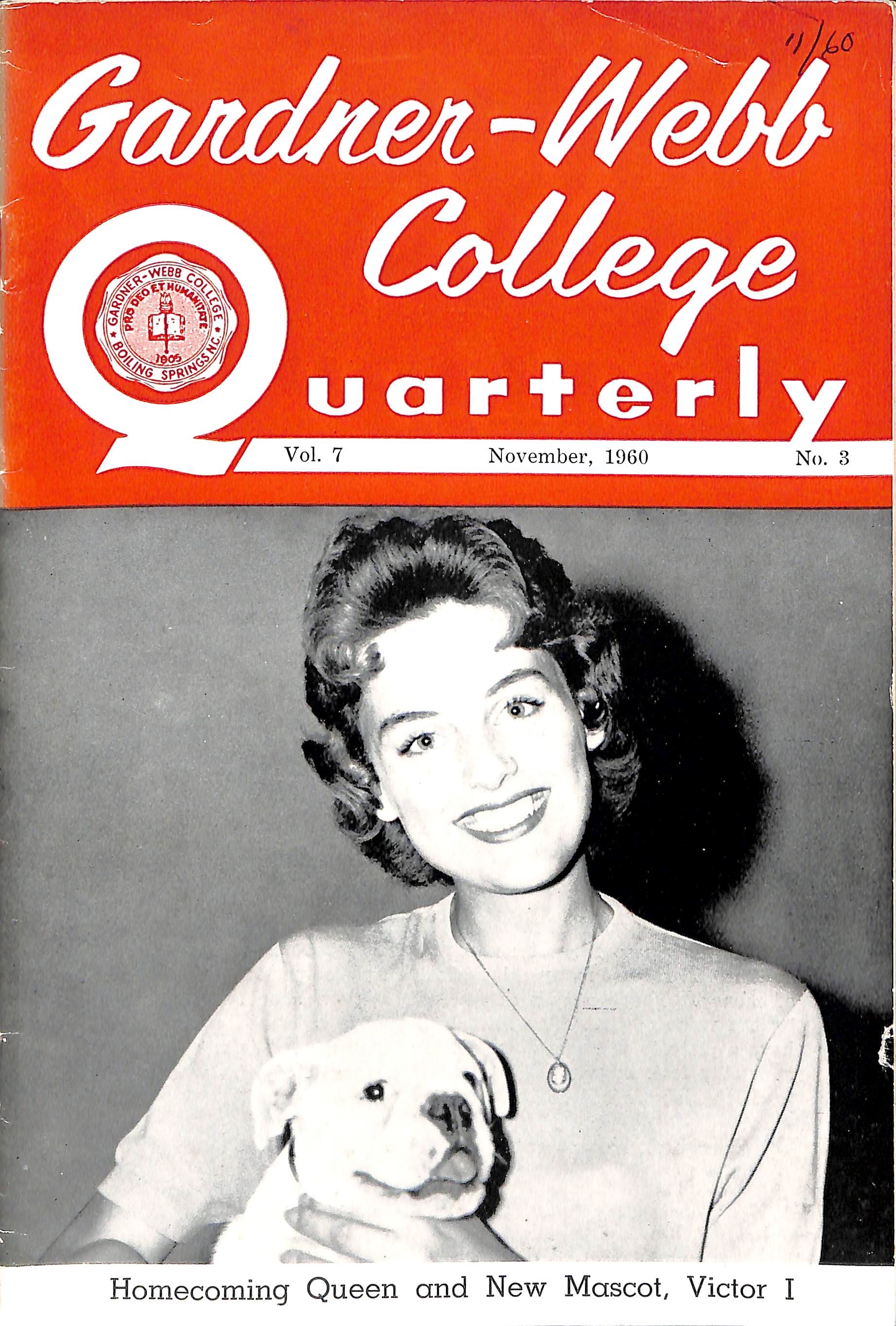The cover of the 1960 Gadner-Webb College Quarterly. Victor I made his first appearance with the homecoming queen.