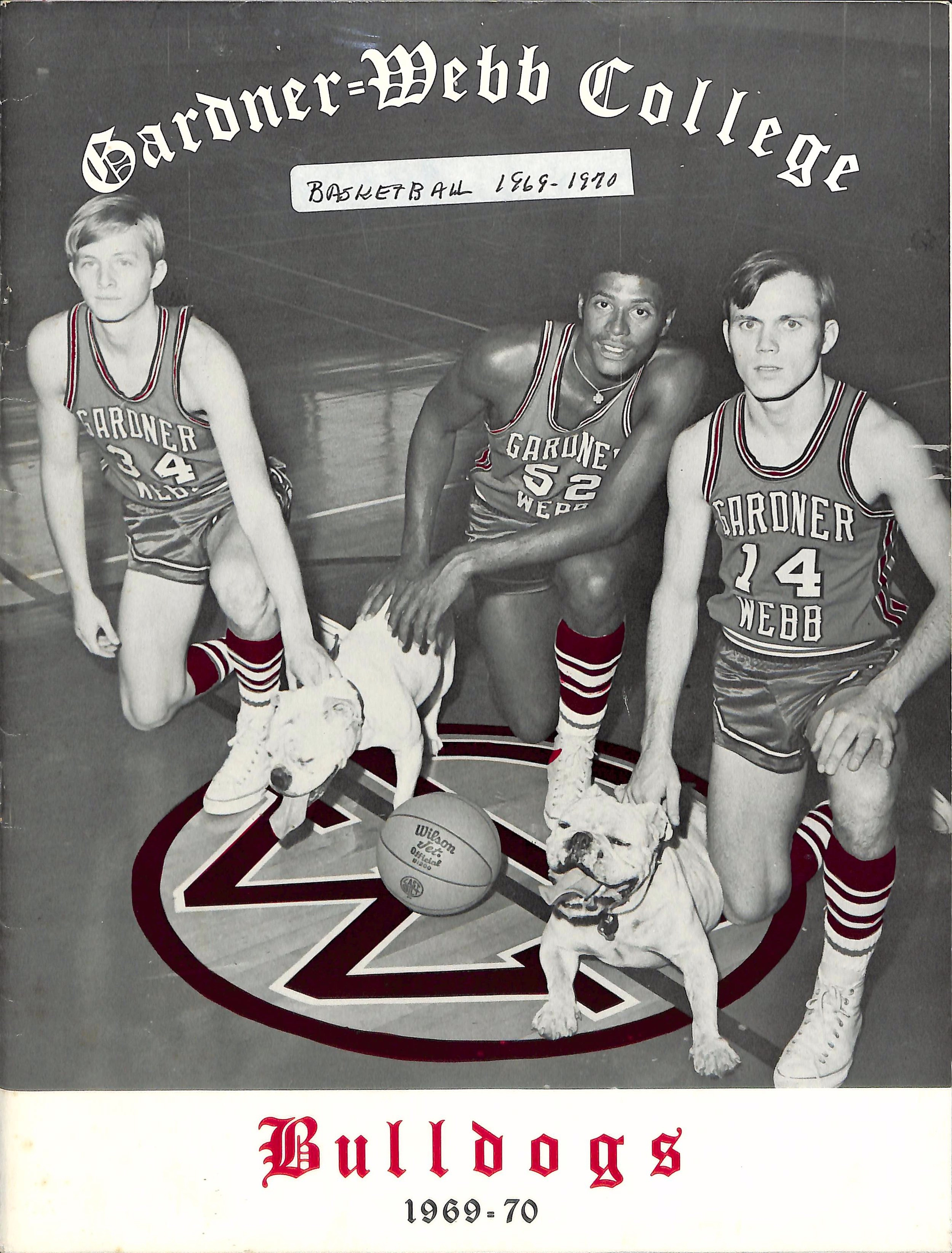 The cover of the 1969-1970 Gardner-Webb College yearbook, featuring members of the basketball team and Victor I or II.