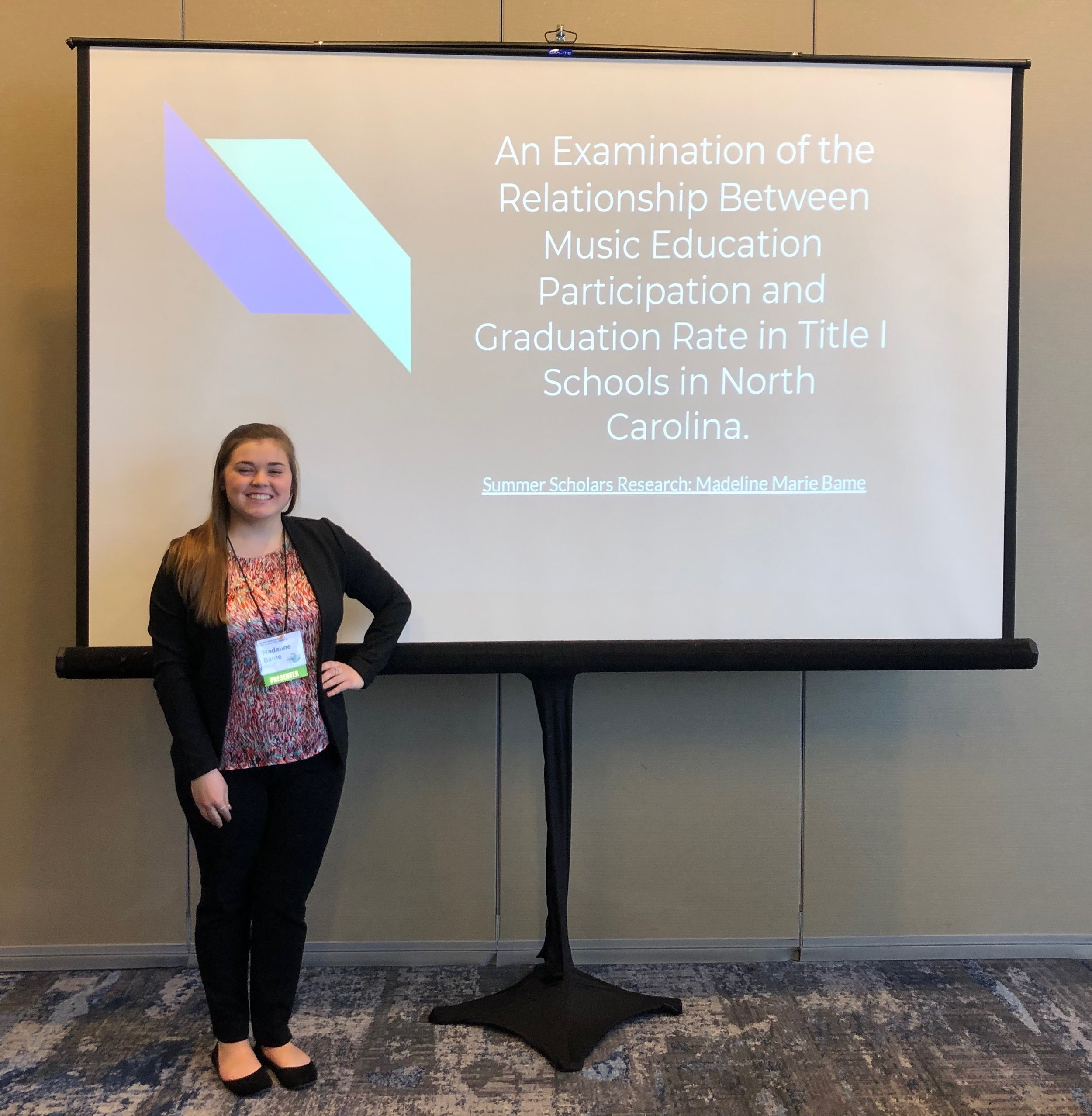 Madeline presenting her Summer Scholar research at the Alpha Chi National Conference in Cleveland, Ohio.