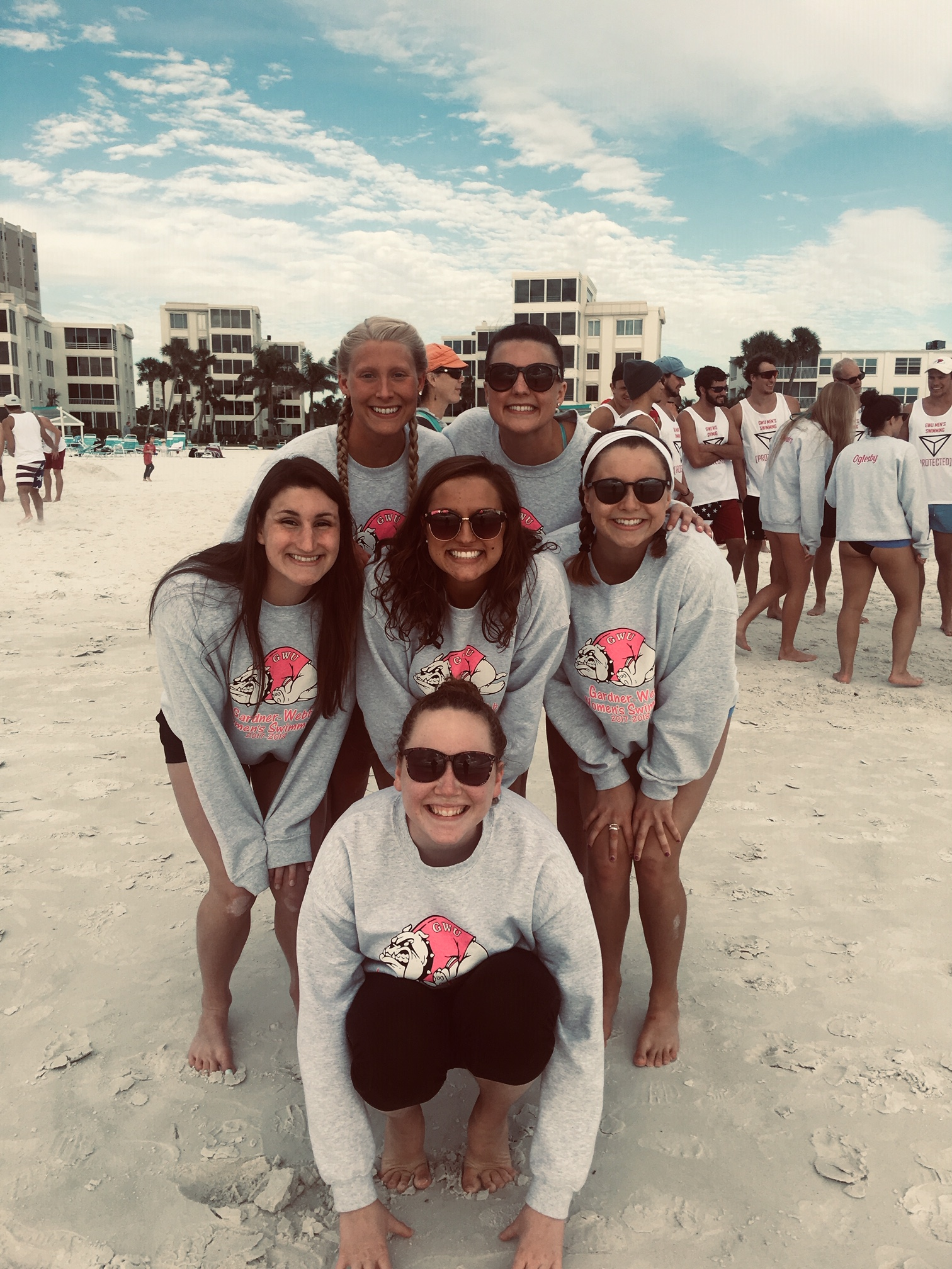 Morgan and other members of the GWU Women's Swim Team during their winter training in Sarasota, Florida.