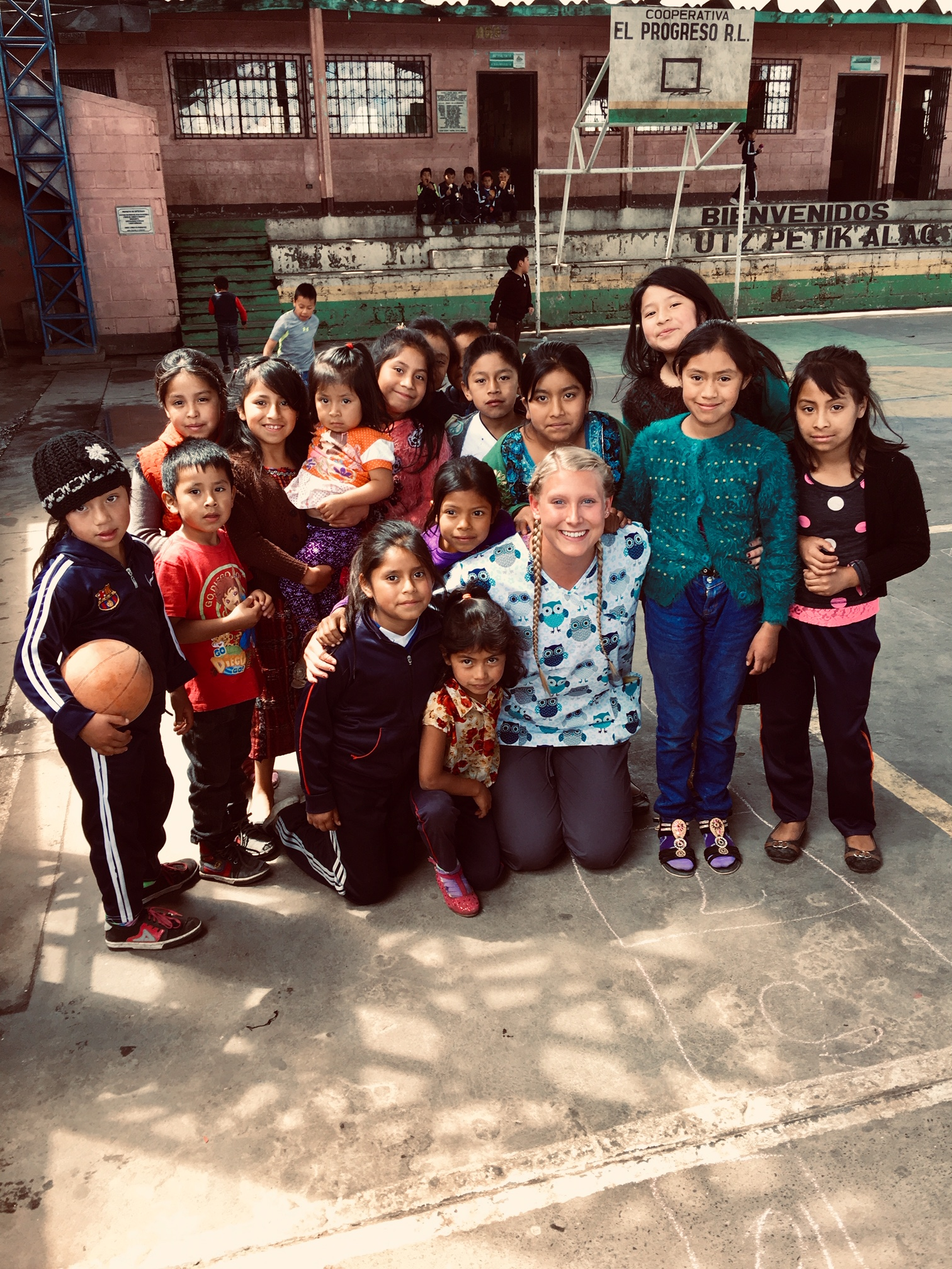 Morgan with a  group of children in Quetzaltenago, Guatemala, during her medical mission trip with the Hunt School of Nursing.