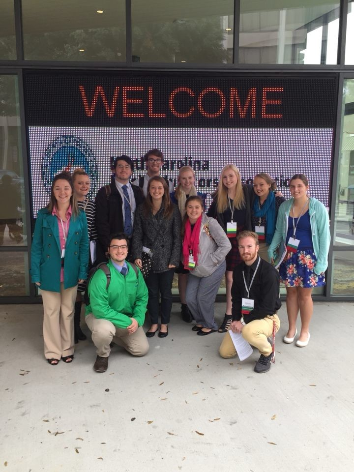 Sydney and other members of GWU's NAfME Chapter attending the NCMEA Conference in Winston-Salem, North Carolina.