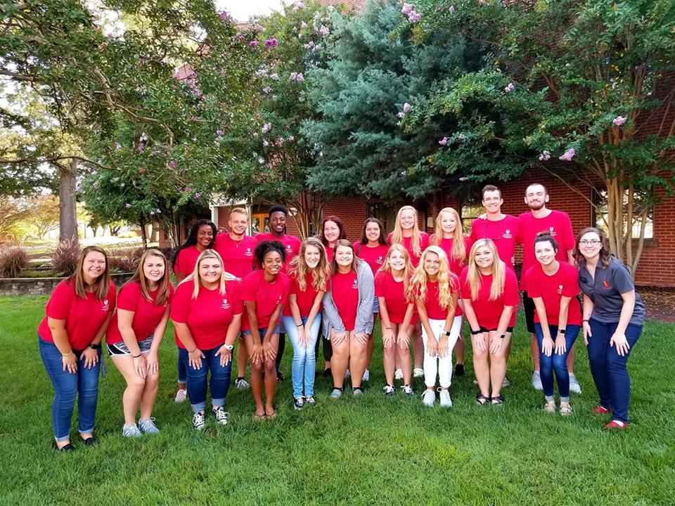 Destiny with the group of Student Recruitment Ambassadors during summer training.