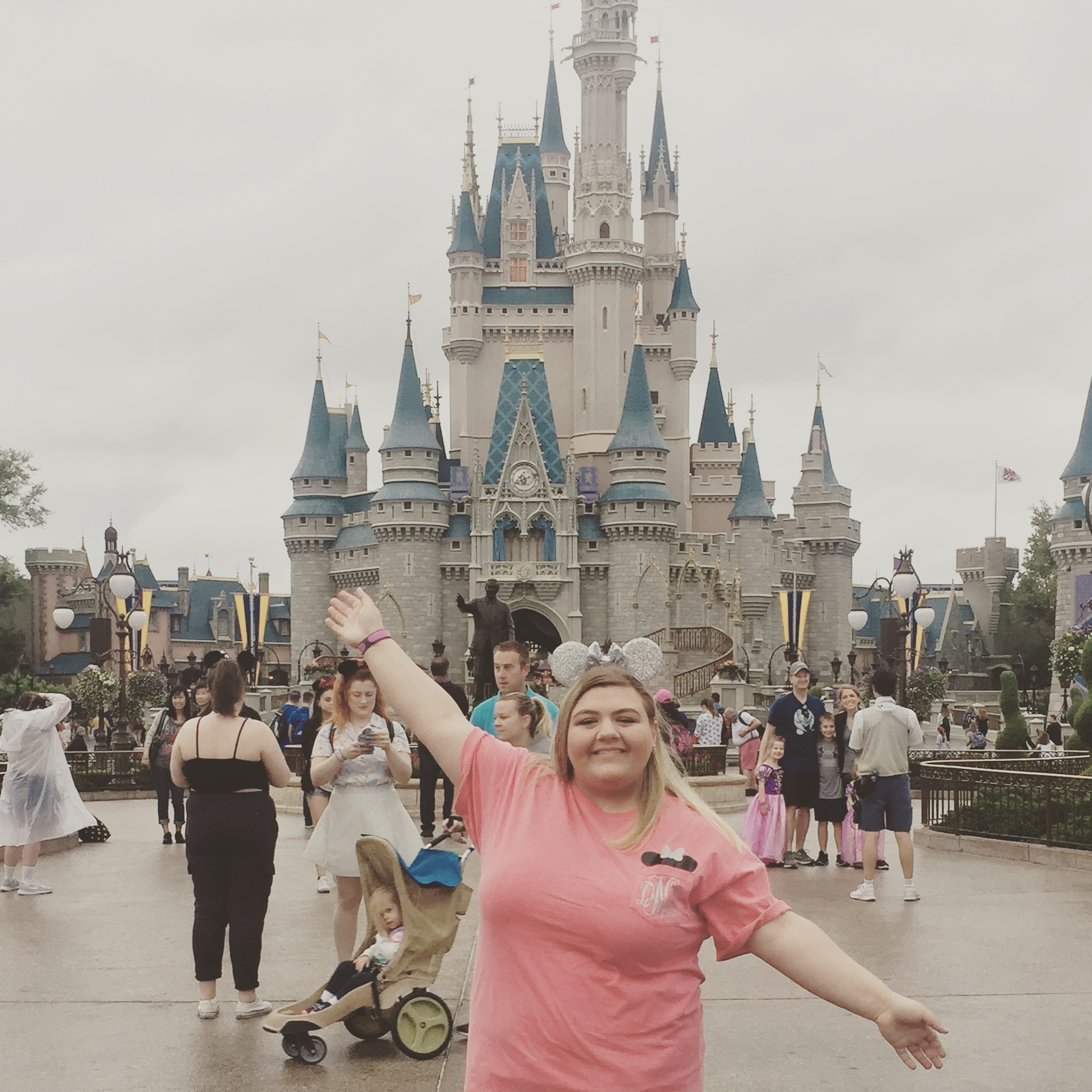 Destiny posting in front of Cinderella's Castle during the Student Activities trip to Disneyworld.