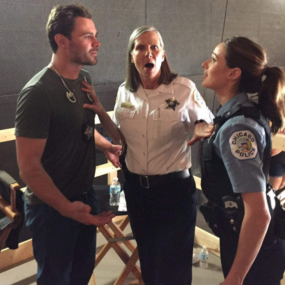 Sgt. Platt, puttin' a stop to a fight over the last cookie at craft services. #sharingiscaring #exceptifitscookiesthenitsmine — @marinasqu