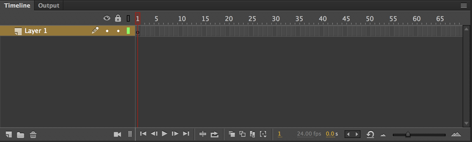 The Animate timeline looks incredibly similar to the timeline from Flash and is defined by the frame count. The seconds timer is located in the lower right panel next to the FPS counter.