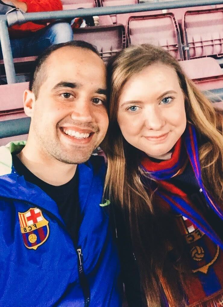 John and I at Camp Nou, watching Barcelona beat Valencia 4-2.