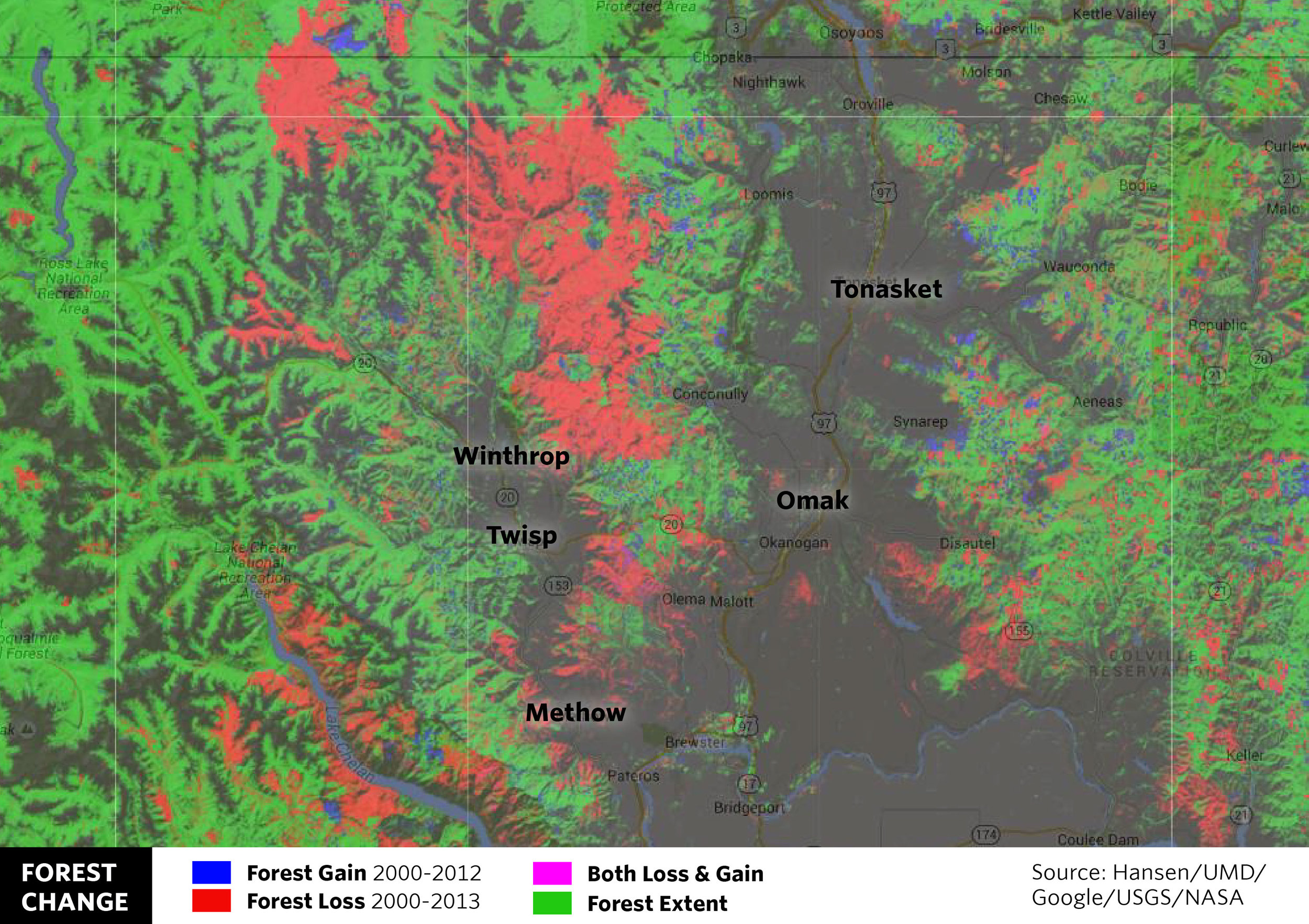 OKANOGAN: Striking swaths of red in north central Washington show forest loss as a result of the 2006 Tripod Complex wildfire, which burned over 175,000 acres. The Tripod Complex wildfire is now sandwiched between the 2014 Carlton Complex and the 2015 Okanogan complex fires, which burned over 500,000 combined acres.