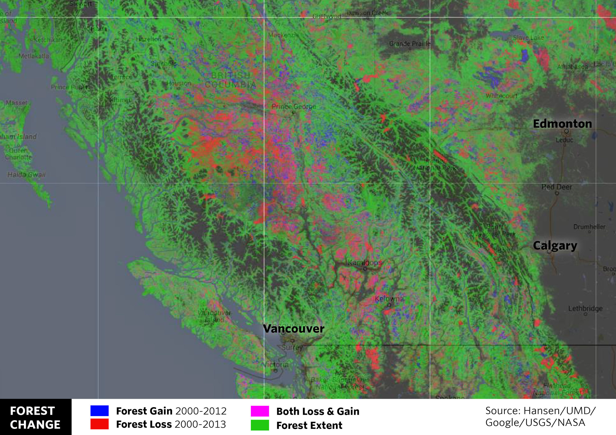 BRITISH COLUMBIA: Forest loss in red is likely from pine beetle outbreaks in British Columbia.