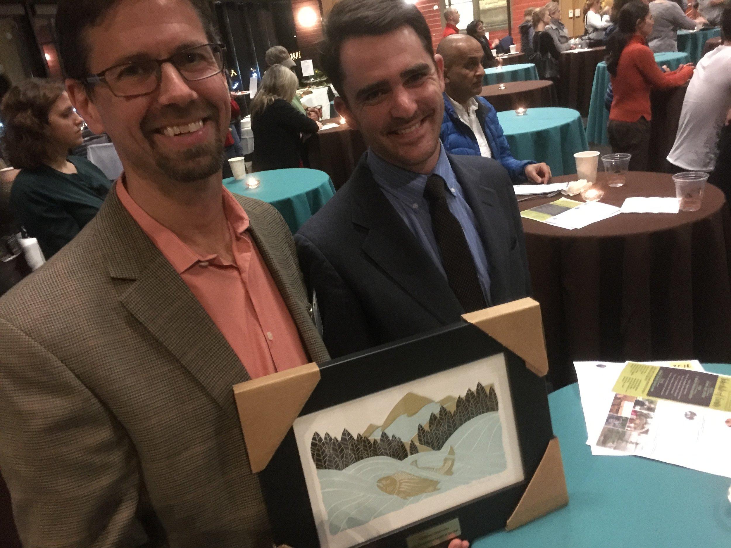 Bob Carey and Tom Bugert with the award