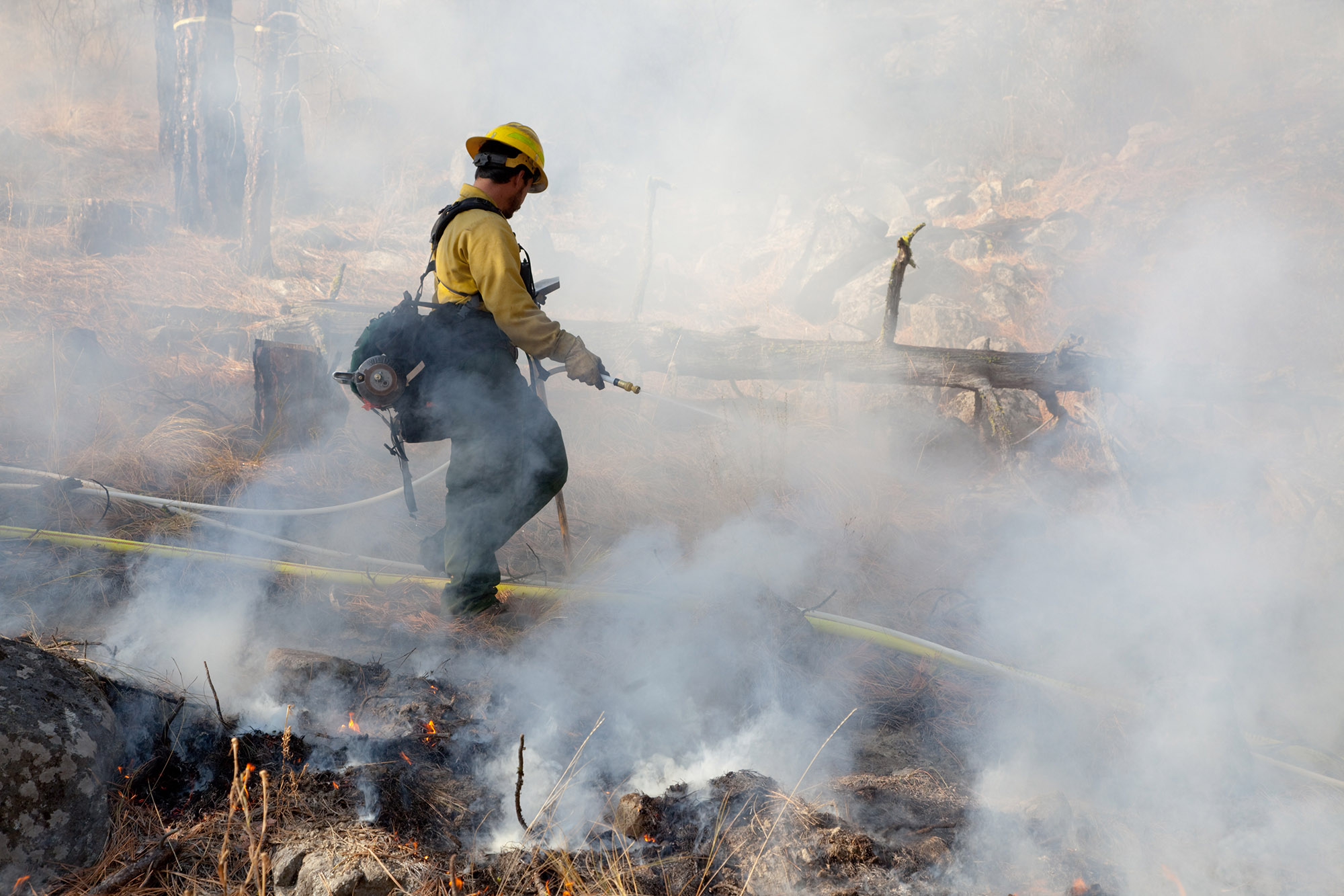 Nick Gutierez wets down the grass and needles along a fire line in Okanogan County. (Photo © John Marshall).