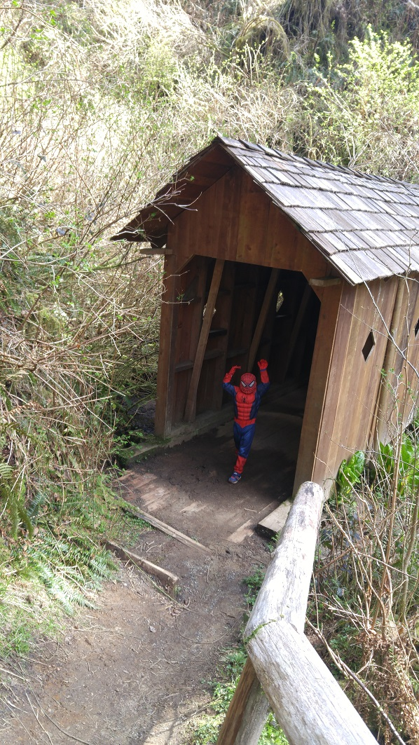 Spider-man is sighted emerging from a covered bridge! No wonder kids of all ages love Lake Sylvia Park. Photo by Garrett Dalan.