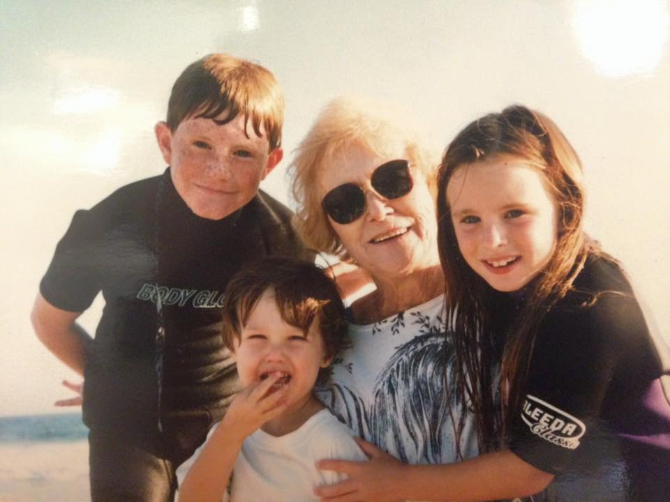 Family Photo: Molly Bogeberg at a California beach with her grandma, brother, and cousin.