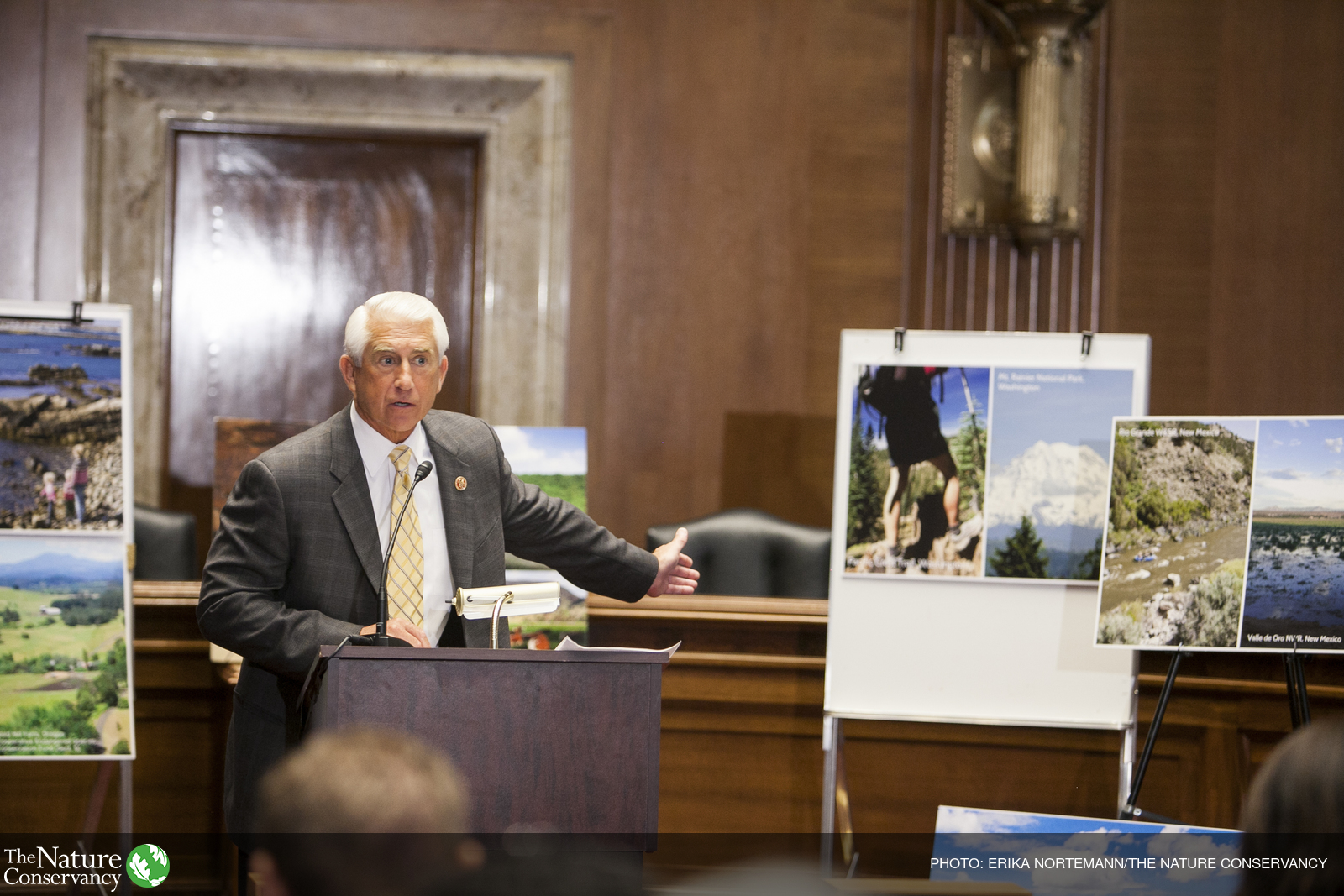 U.S. Rep. Dave Reichert speaks at a news conference celebrating the 50th Anniversary of the Land and Water Conservation Fund (LWCF) at the Dirksen Senate Office Building in Washington, D.C., in 2014.