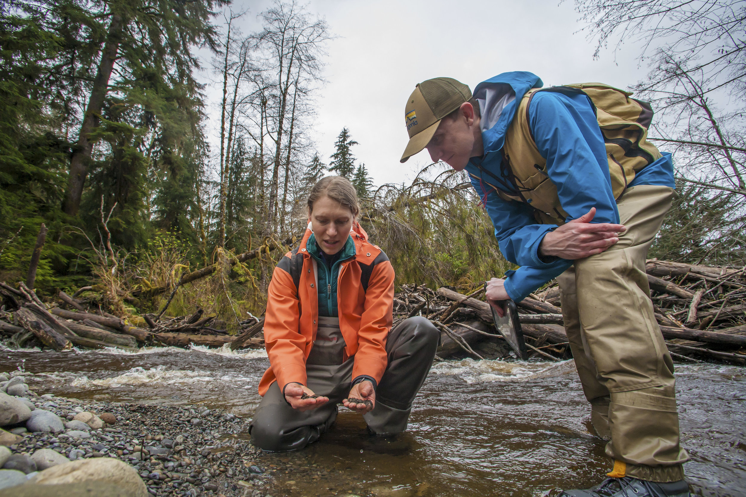 Aquatic Ecologist Emily Howe and Forest Ecologist Ryan Haugo assess river habitat this spring in the Hoh River.