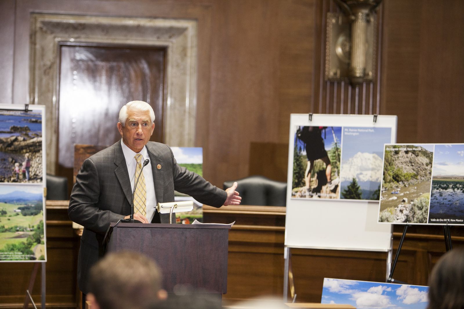 U.S. Rep. Dave Reichert speaks at a press conference celebrating the 50th Anniversary of the Land and Water Conservation Fund (LWCF) at the Dirksen Senate Office Building in Washington D.C. Photo © Erika Nortemann/TNC