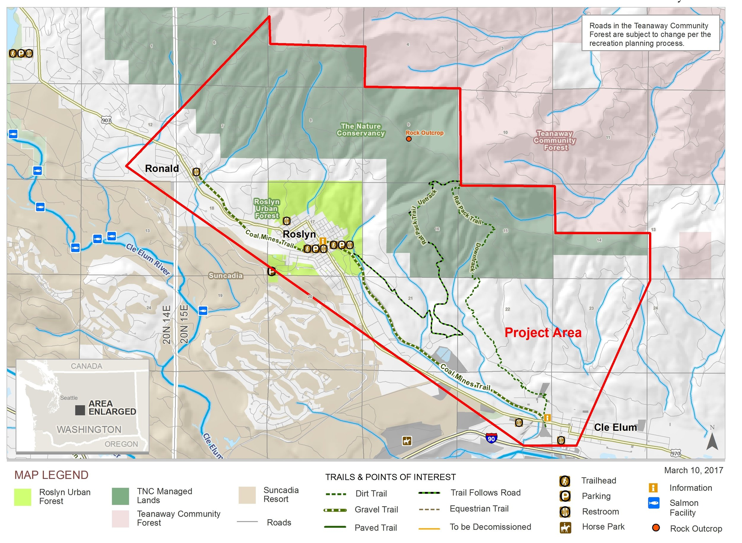 Outline of the planning area for the Towns to Teanaway corridor, with current trail systems defined.