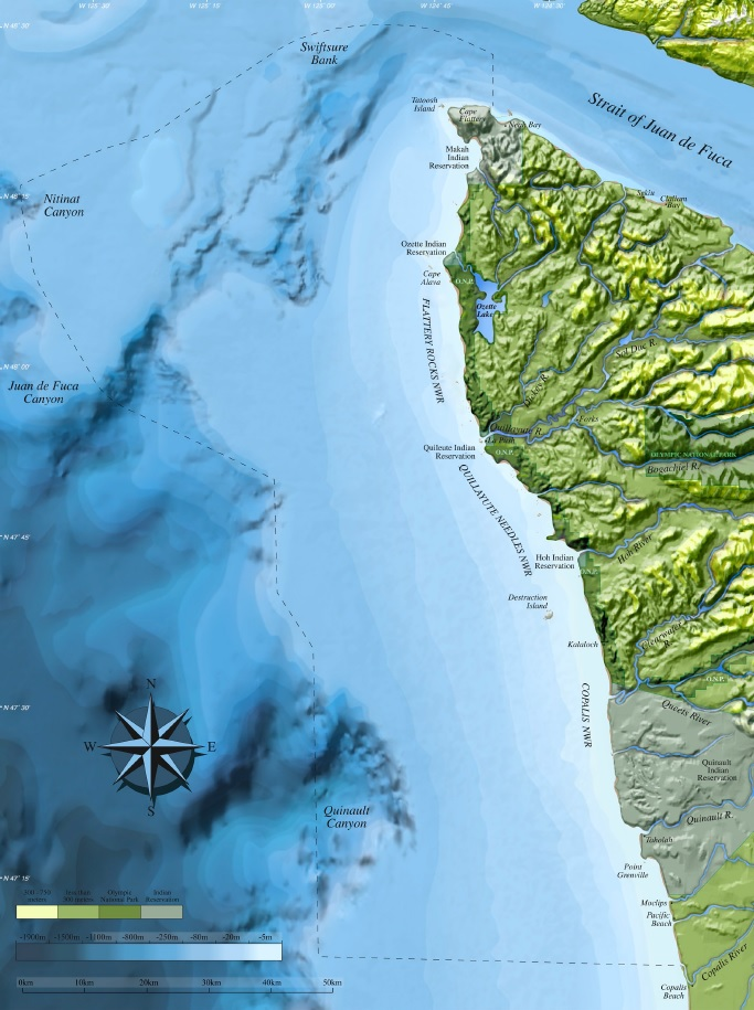 The dashed line marks the boundaries of the 3,000-square-mile Olympic Coast National Marine Sanctuary. Map courtesy of National Ocean Service.