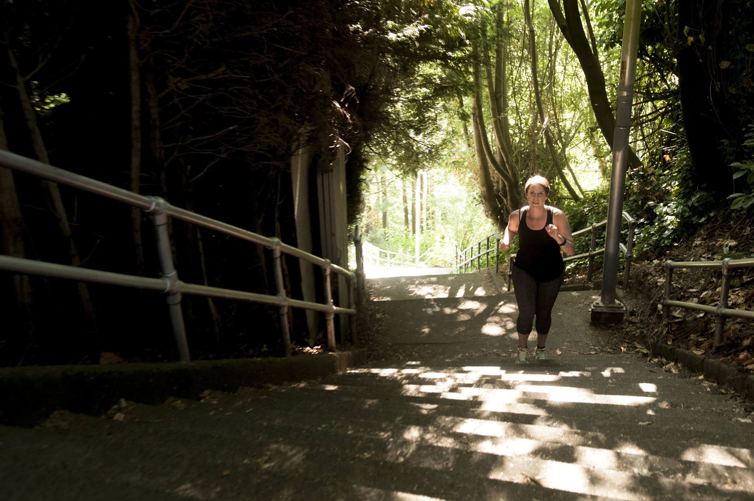The Blaine Street Stairs are a favorite training challenge for DeAnna when gearing up for a rigorous hike. Photo by Nikolaj Lasbo.