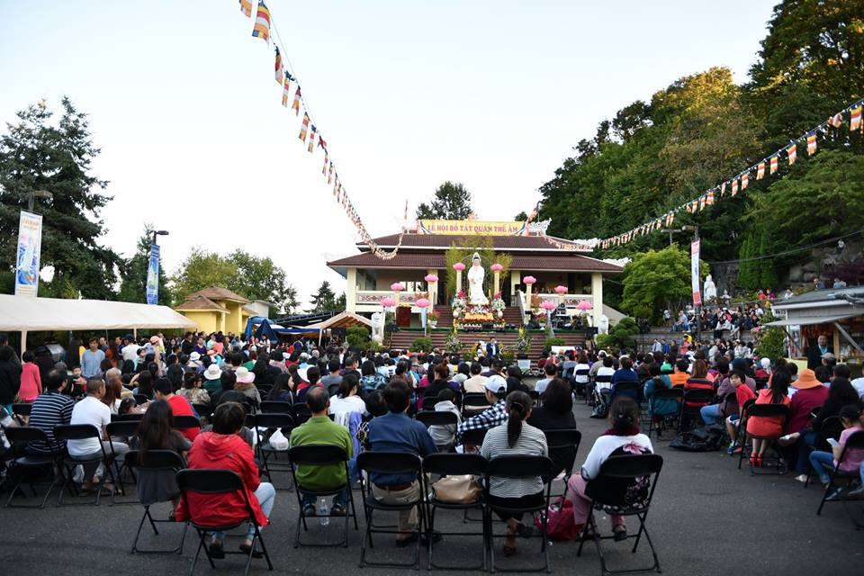 Photo of community members attending the annual Quan Am Festival, on July 16, 2017. at the Co Lam Pagoda Temple.