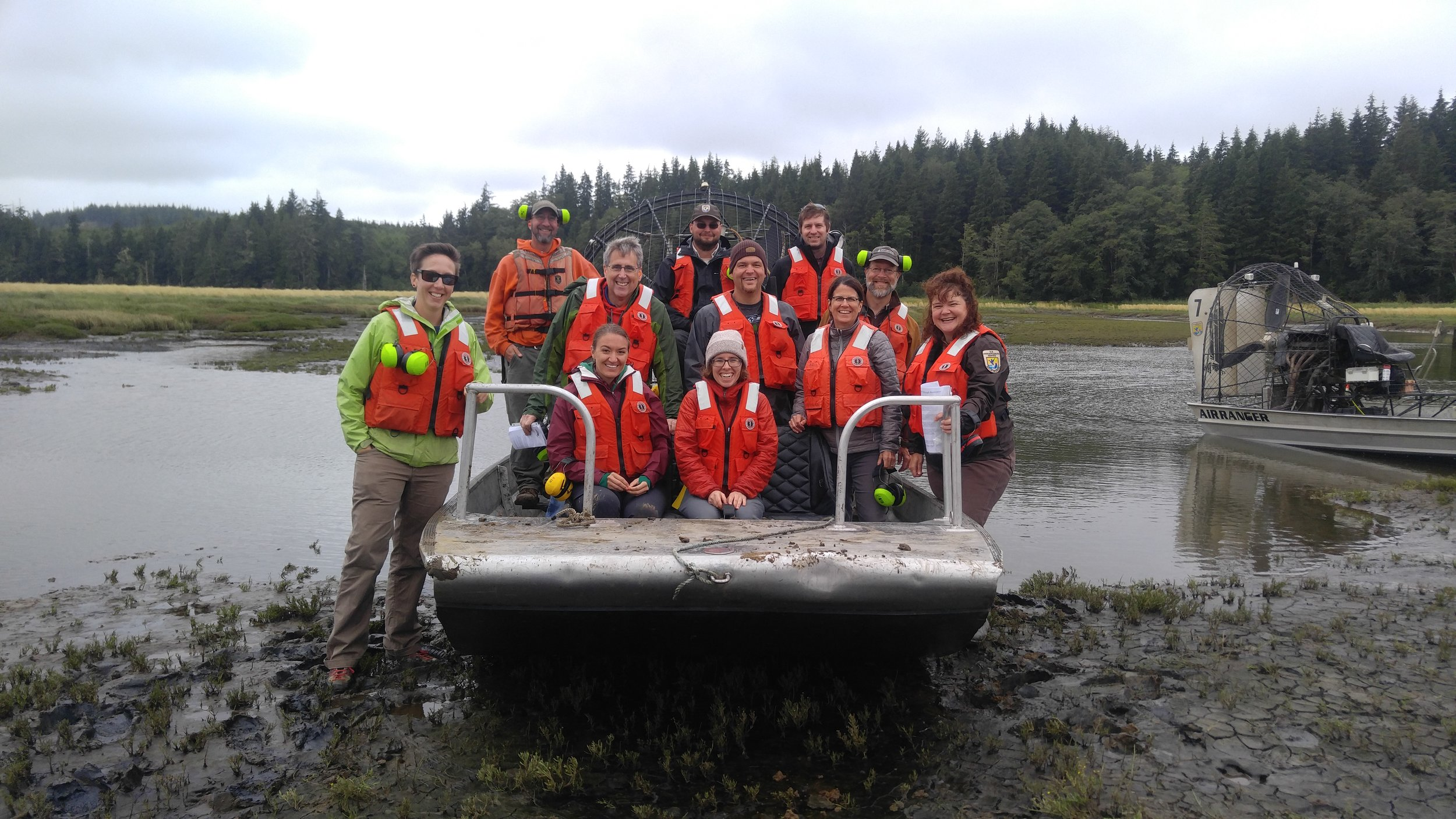 Tour participants got to experience the incredible restoration of Willapa Bay in the best way – on air boats.  Ear protection was essential! Photo © Jessica Helsley