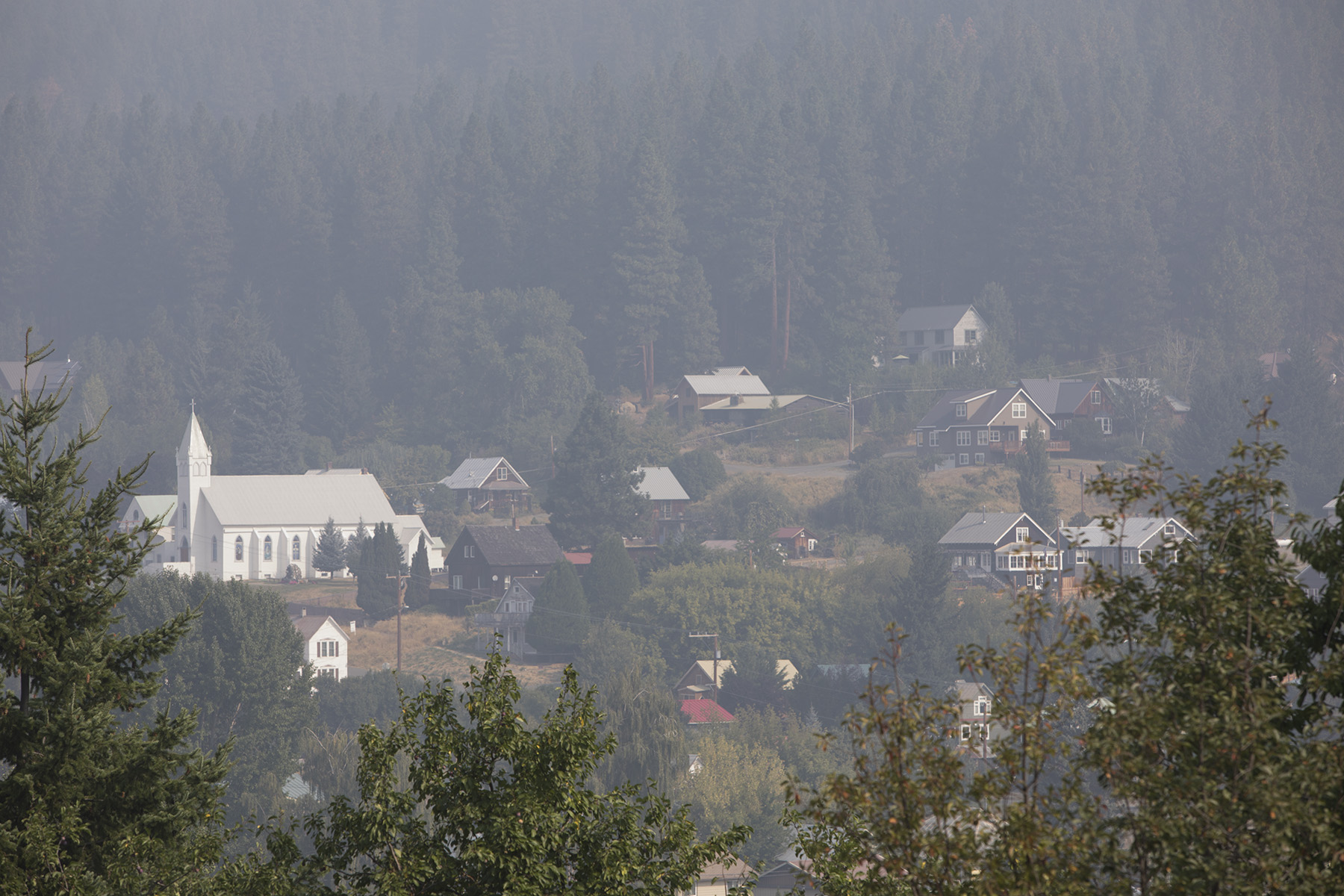 Smoke from the Jolly Mountain fire fills the town of Roslyn. Photo © John Marshall