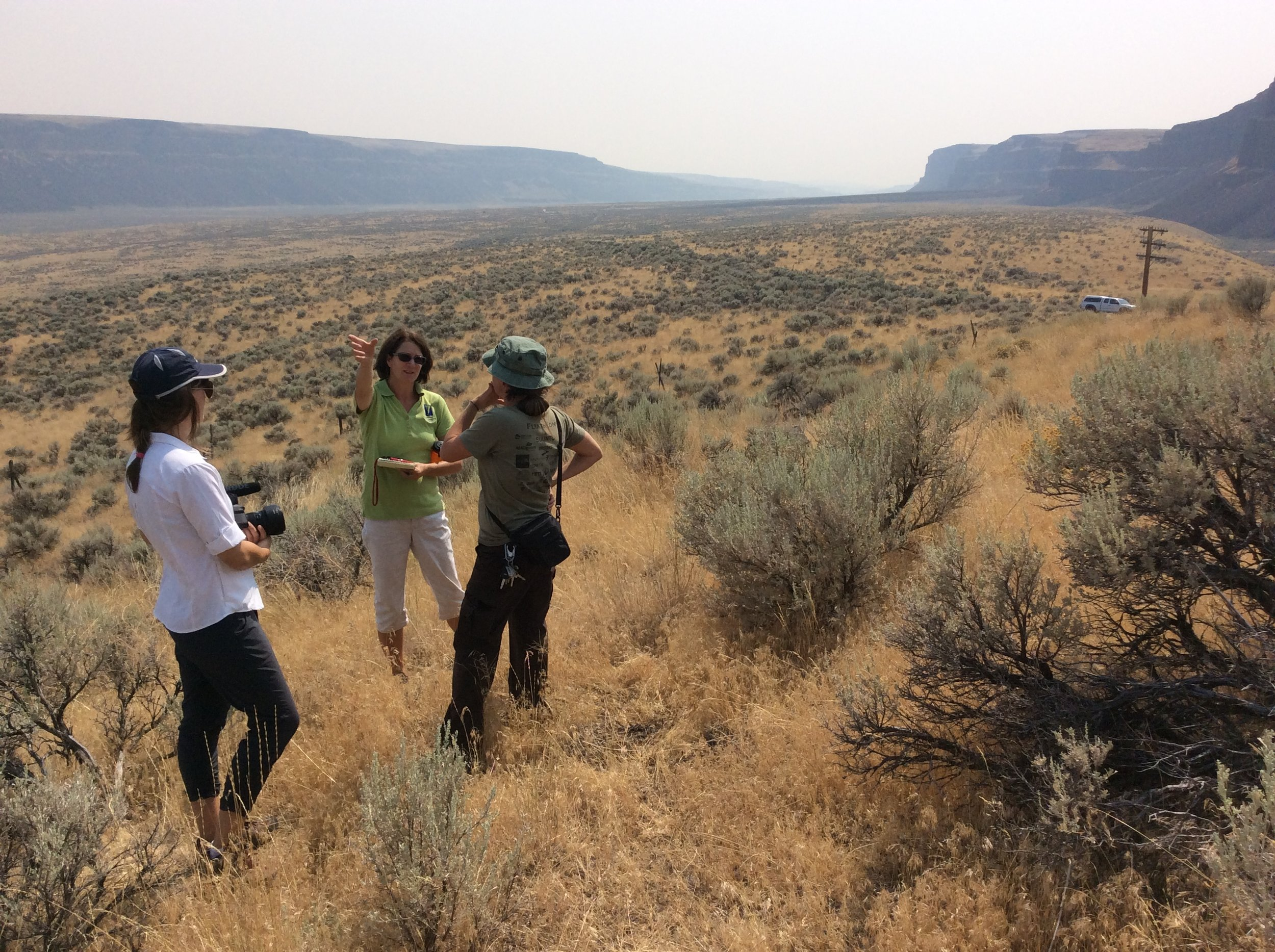Laurie Jenkins (center) explains the Great Gravel Bar's formation.