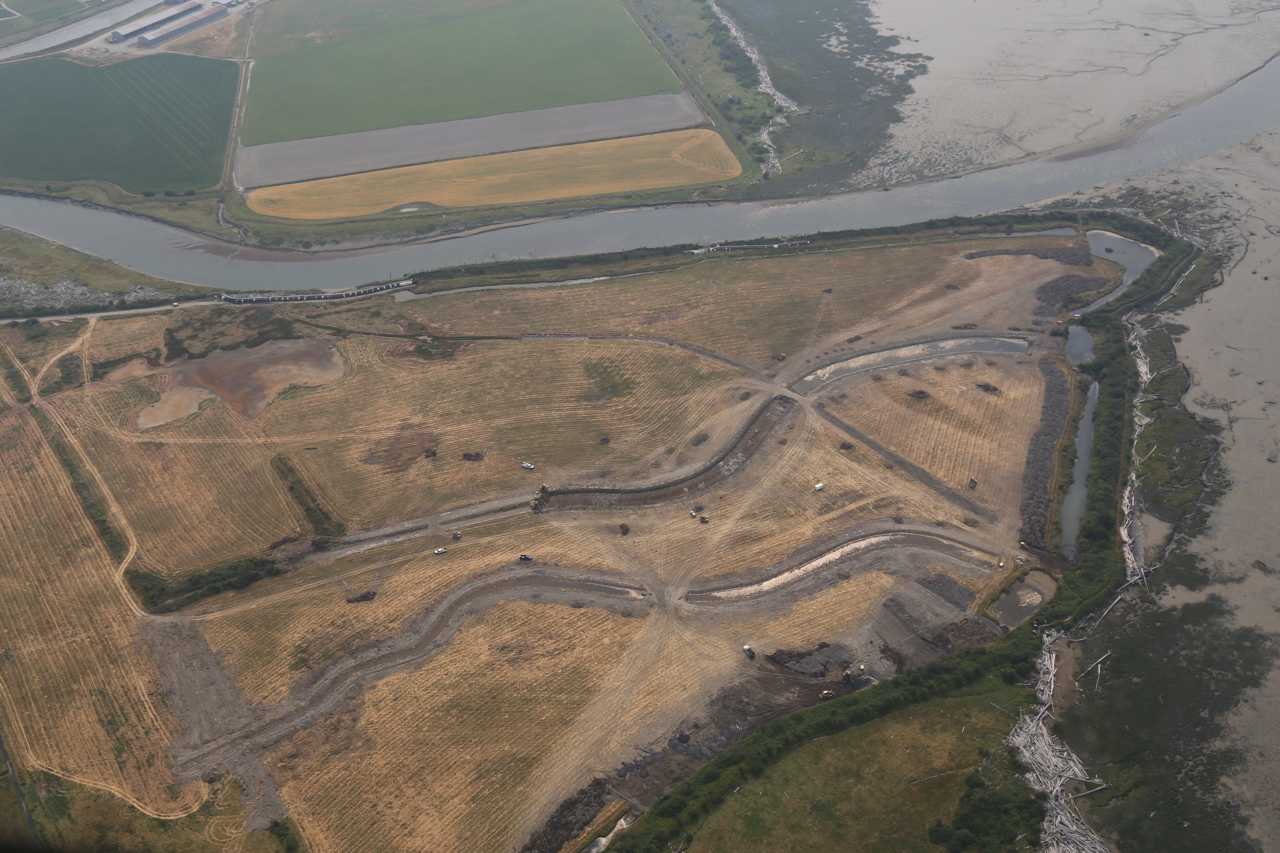 Phase 1 Construction on the southern portion of Leque Island. Photo ©WDFW