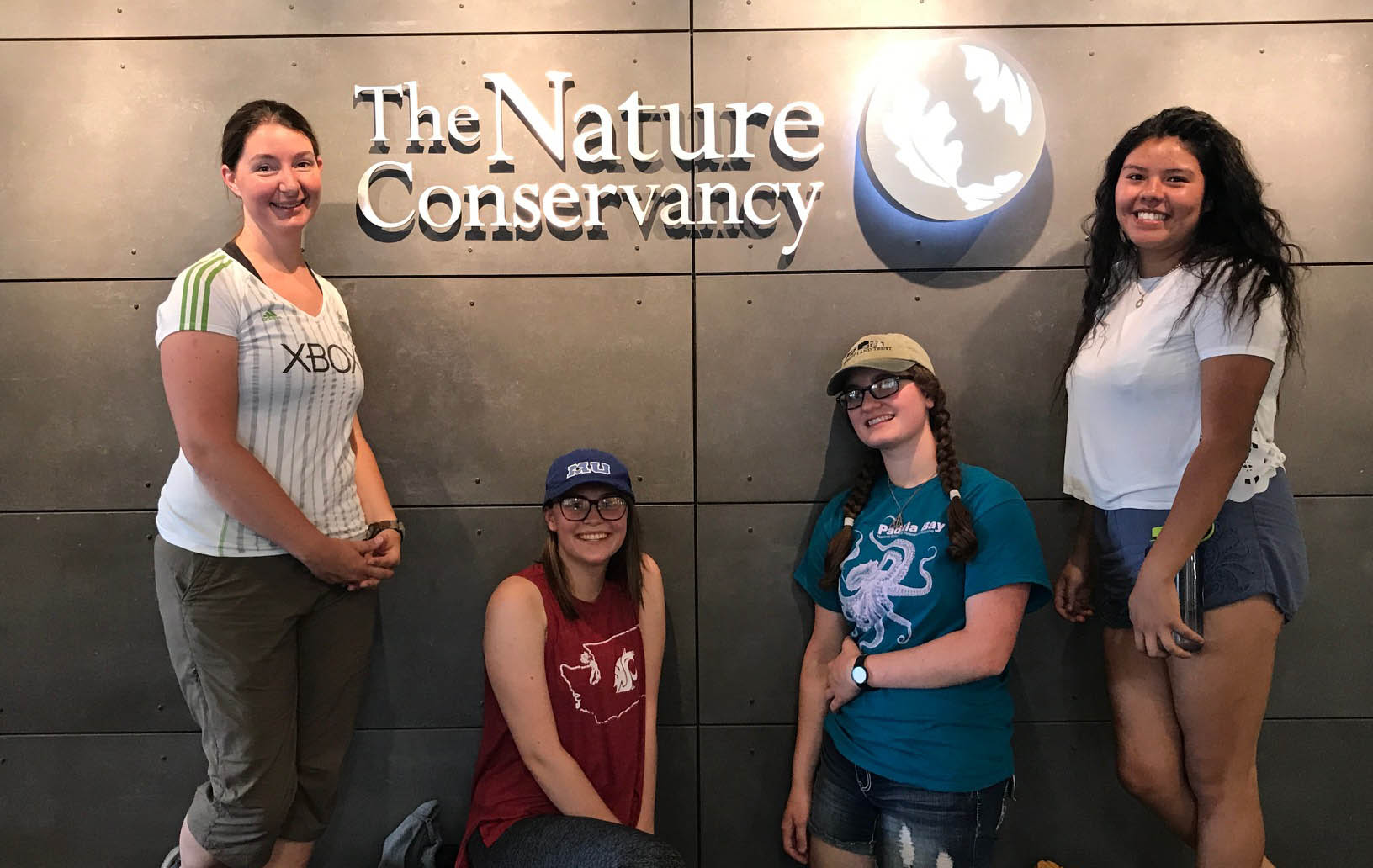 (L to R)  Led by teacher/mentor Carol, the 2017 Washington LEAF crew included Olivia,Isabel and Jackie. Follow all LEAF intern adventures on Instagram at #tncleaf2017. Photo by Randi Shaw / TNC.