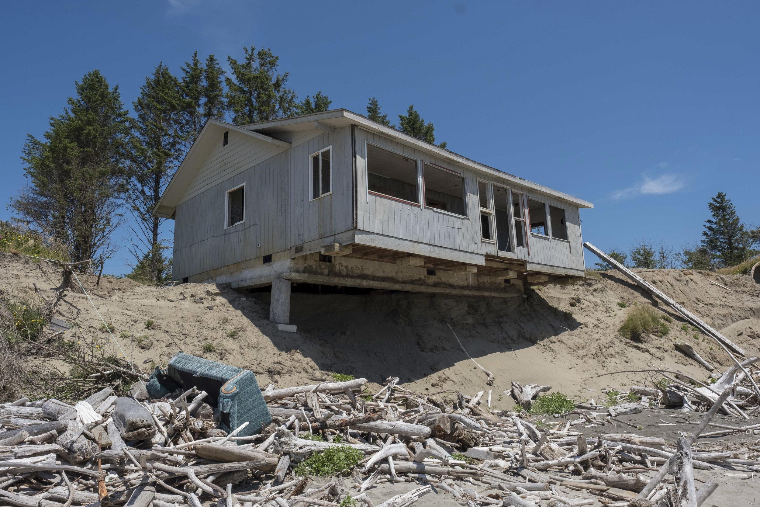 Erosion damage and debris on Washaway Beach. Photo by Kit Swartz.