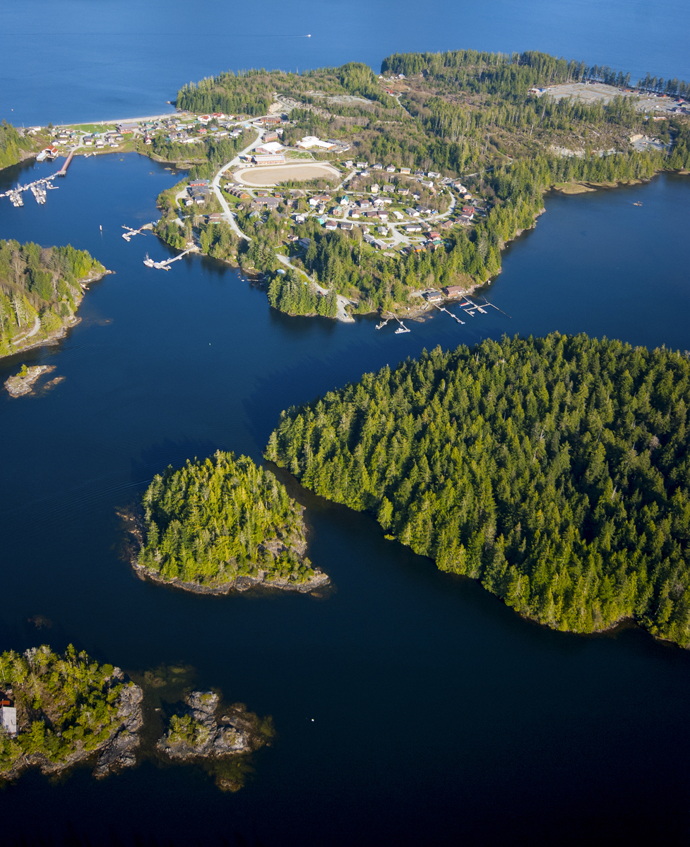 An aerial view of Ahousaht First Nation village in Clayoquot Sound. © Bryan Evans