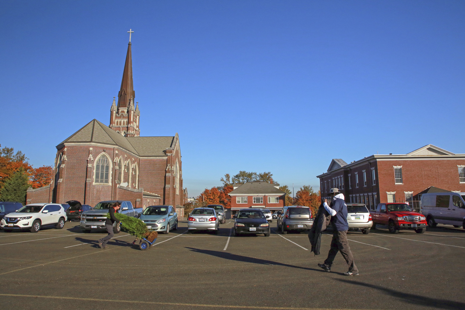 A view of the Holy Rosary church and school. Photo ©Marissa Singleton / TNC