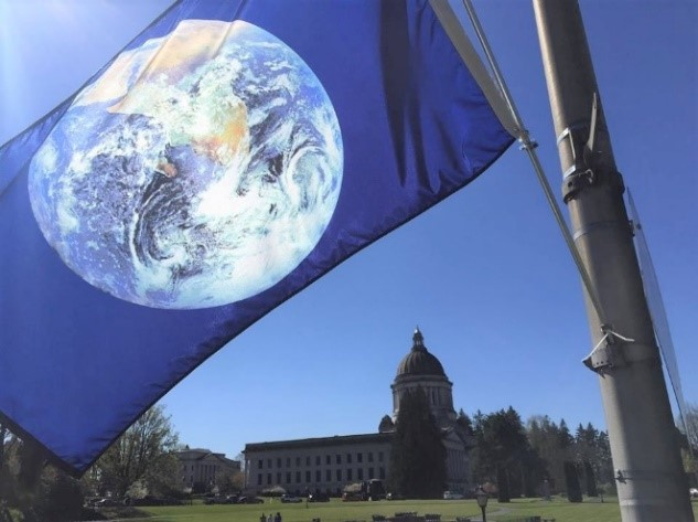 Organizers install more than 100 Earth Flags in downtown Olympia each year to raise awareness and inspire engagement with local and national environmental organizations during the month of April.
