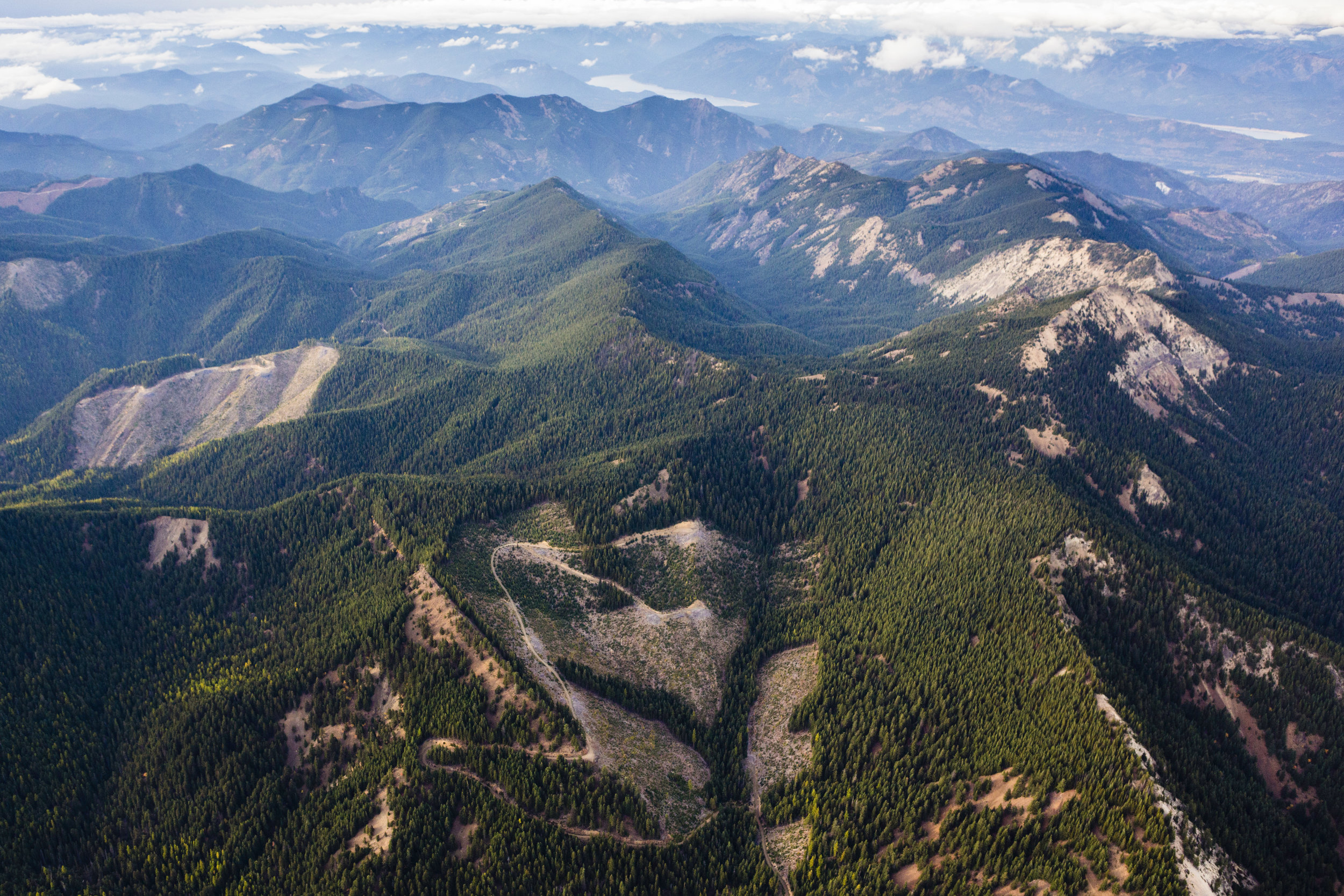 Aerial view south of Cabin Creek, with patches of cut forest interspersed with replanted forest in the Cascade Mountains. Photo © Benjamin Drummond for The Nature Conservancy