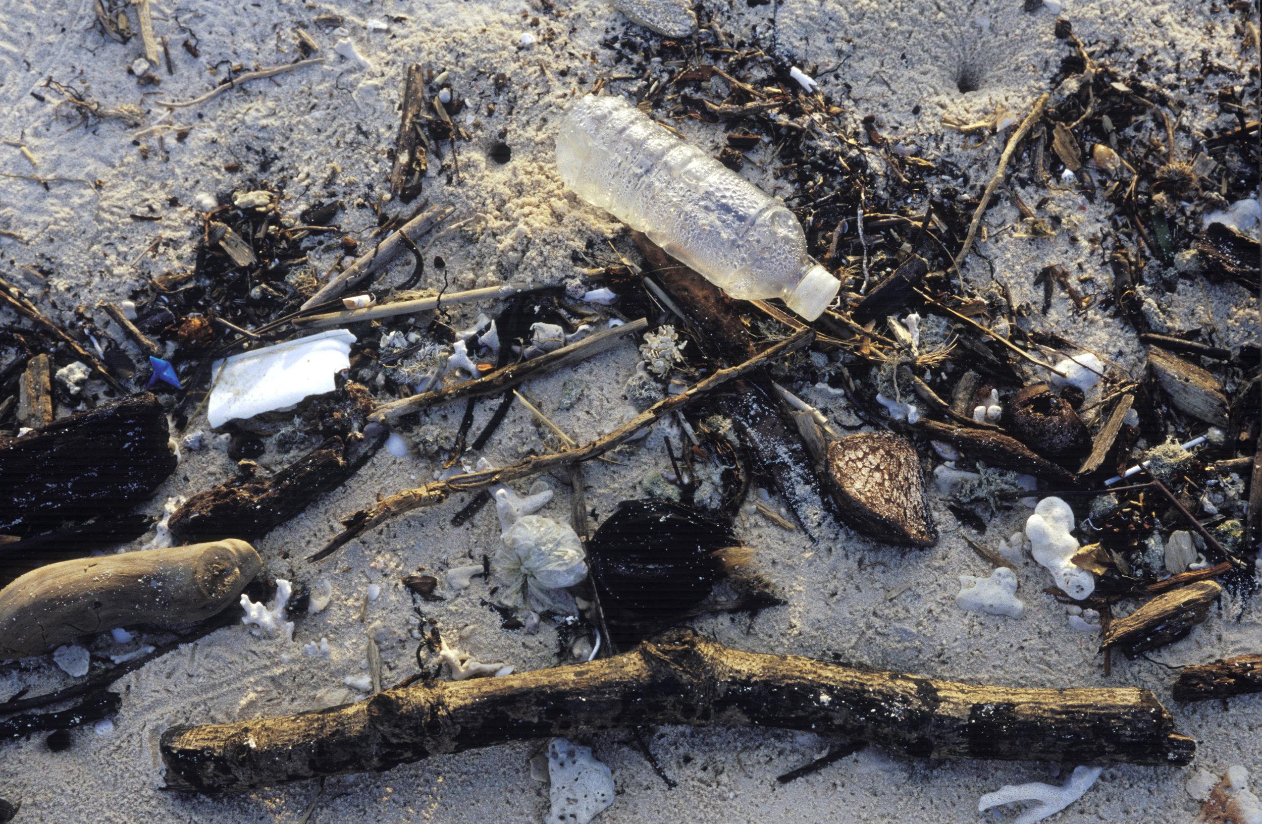 Plastic and trash wash ashore the turtle nesting beaches of Sangalaki island in the Derawan island chain off East Kalimantan, Indonesia. Photo by Mark Godfrey.