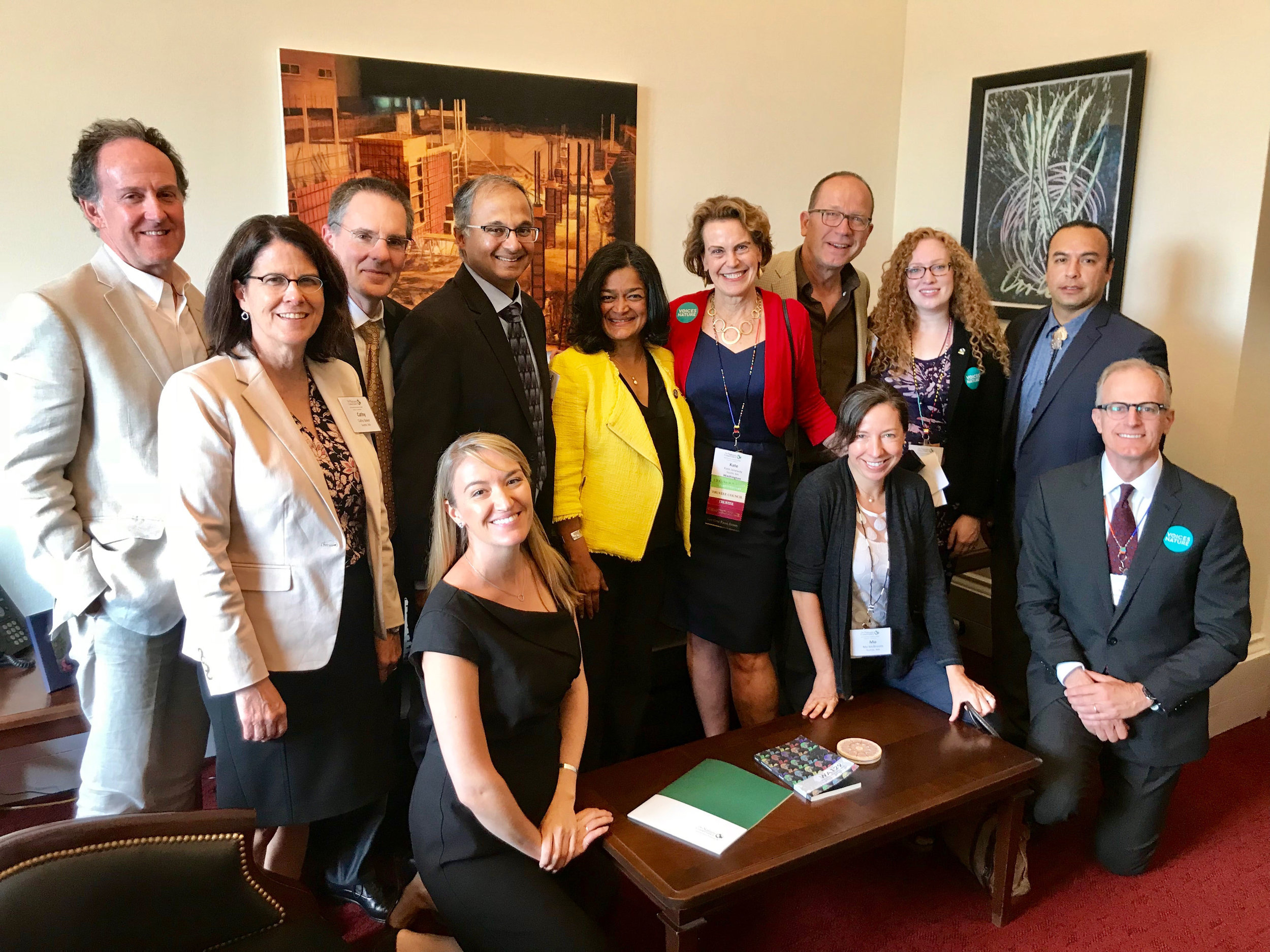 Nature Conservancy in Washington trustees and staff in Rep. Pramila Jayapal's office in Washington, D.C. © TNC